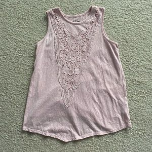 Art Class Pink tank top with lace design